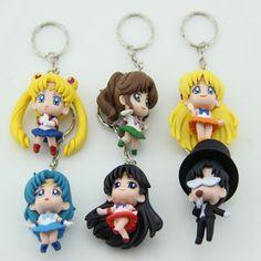 Anime Sailor Moon Mars Jupiter Venus Mercury Keychains Action Figures Toys Dolls 6pcs/set SAFG011