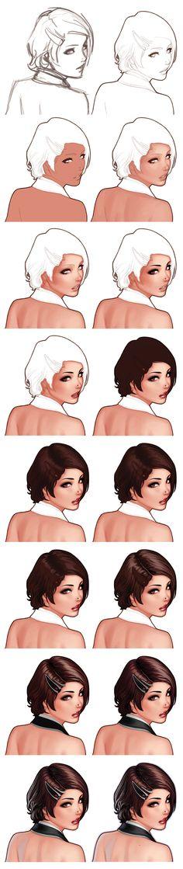 Lição desenho rosto feminino
