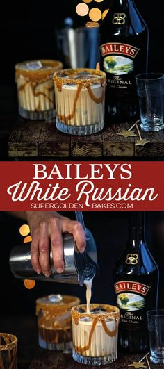 This ridiculously indulgent Baileys White Russian packs a real punch! The perfect drink for Christmas or St. Patrick's Day #WhiteRussian #Baileys #StPatricksDay #cocktails #supergoldenbakes