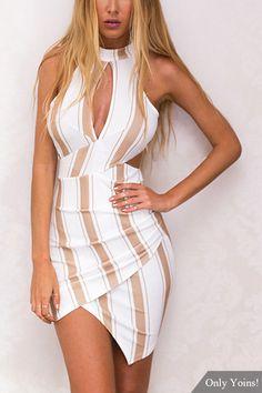 Stripe Wrap Front Cut Out Mini Dress - US$21.95 -YOINS