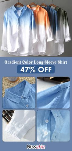7c29e2c3 TWO-SIDED Mens Gradient Color Long Sleeve Cotton Breathable Single-breasted  Casual Shirt is hot sale at NewChic, Buy best TWO-SIDED Mens Gradient Color  Long ...