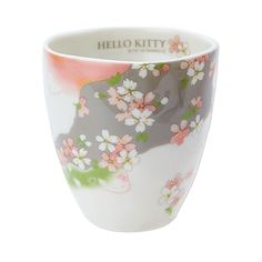 HELLO KITTY Sakura Cup - Large. New at Takaski.com. Kitty is playing hide and seek behindsakura cherry blossom! Machine-washable and microwavable.  Production: Made in Japan Size: D8.3 × H8.7cm Delivery: Directly from Japan