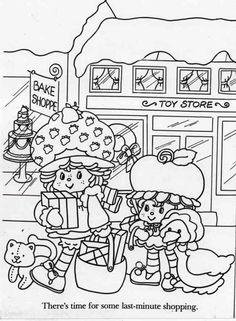 Custard, Strawberry Shortcake, Cherry Cuddler, and Gooseberry, Christmas shopping.  Coloring sheet.