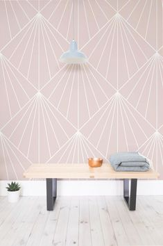 Get the Art Deco style for your home. This beautiful vintage wallpaper combine delicate blush tones with a dynamic dandelion design. Perfect for girl's bedrooms and modern living room spaces.