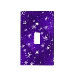 White #Snowflakes Blue-Purple #LightSwitchCover #homedeor #Zazzle #Sandyspidergifts