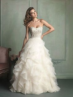 2014 Organza Beading A-line White Ivory Wedding Dress Bridal Gown Size Custom