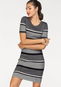 This chic knitted dress is in a trendy stripe design, and in a figure hugging fit. In a ribbed knit, and features a narrow rounded neckline and short sleeves. Brand: AJC Washable Viscose, Polyamide Back length approx. for size 90 cm ins) Diamond Girl, Mode Online, Stripes Design, Knit Dress, Birthstones, Outfit, Mini Skirts, Short Sleeves, Two Piece Skirt Set