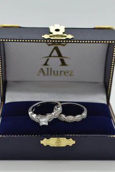 Infinity Style Bridal Set w/ Diamond Accents 14k White Gold (0.55ct) - Allurez.com