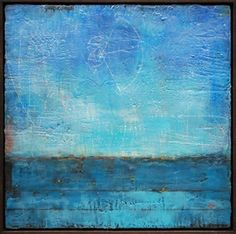 The Moon and the Tide by Laura Culic. Encaustic and oil