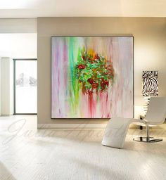 Art Print on Canvas of Original Abstract Landscape Series Paintings by Julia Apostolova  THIS PRINT COMES UNSTRETCHED OR STRETCHED, depends of