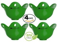 Kitchen Discovery Egg Poachers BPA-Free Silicone Egg Poacher - 4 Pack