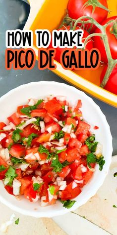 This easy Pico de Gallo recipe is perfect for an appetizer or condiment to any meal! Also known as Salsa Fresca, it is made easily in minutes! Healthy Appetizers, Appetizer Recipes, Party Dip Recipes, Healthy Recipes, Appetizer Dips, Appetizers For Party, Yummy Snacks, Healthy Meals, Side Dish Recipes