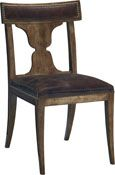 Some things are classics, and a rare few are standards.   This chair is a standard, the first option against which  others are measured.  The neoclassical lines are simple, swept back, and refined.  The shoulder board is curved and upholstered for comfort.  Even the distinctive vase-like splat, like the Locri of antiquity, draws glances from both the front and the back.  Aged brass nail head trim.<br><br>The Locri can be dressed up or down to the needs of the room.  The padded shoulder board…