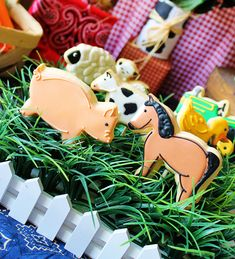 Cute way to display farm animal cookies in a grass field with a mini picket fence