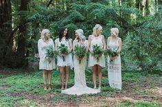 Beautiful, bohemian, bride, bridesmaids, nature, hippie chic, boho, dress, long, lace, white