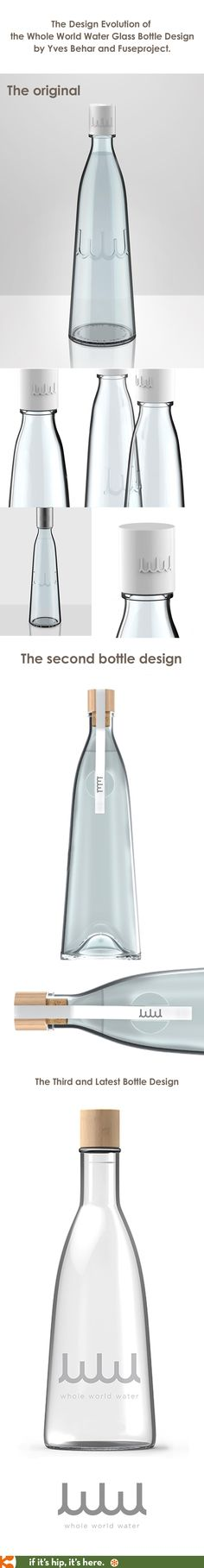Since Yves Behar designed the glass bottle for Whole World Water, it has changed three times. Here's the evolution for you.