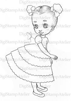 Little Girl with Butterfly. INSTANT DOWNLOAD Digital Digi Stamps.