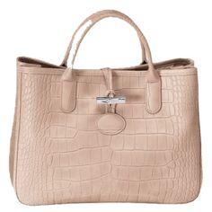 Longchamp Roseau Croco Tote Bag- Powder