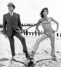 British Beach Life. Patrick MacNee and Diana Rigg, 1965.