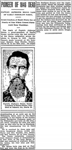 """Obituary for pioneer Alphonso Boone, published in the Oregonian newspaper (Portland, Oregon), 4 April 1915. Read more on the GenealogyBank blog: """"Getting Your Ancestor's Obituary and a Bonus, Too."""" http://blog.genealogybank.com/getting-your-ancestors-obituary-and-a-bonus-too.html"""
