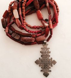 Coral Beads with Silver Cross