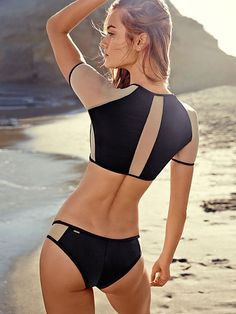 Black Colorblock Mesh-inset Rashguard Bikini Top Very Sexy @ Victoria Secret $40