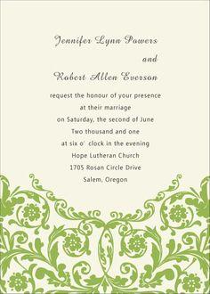 Simple green formal wedding invitations EWI032 as low as $0.94