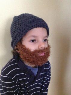 Handmade Crochet Beard hat beard beanie. Navy blue by SueStitch