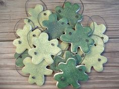 St Patrick's Day Shamrocks  Set of 12 Salt by cookiedoughcreations, $14.95