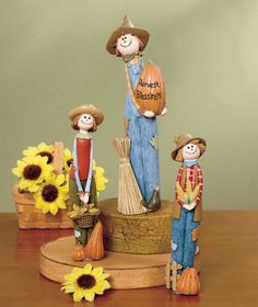 Halloween Figurines Cute Witch Scarecrow Set Ceramic Figures Dining Decorations