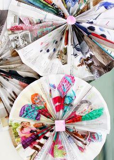 Magazine/catalog pinwheels. #DIY #Thrifty #Decoration