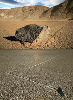 The sailing stones (sliding rocks, moving rocks) are a geological phenomenon where rocks move in long tracks along a smooth valley floor without human or animal intervention. They have been recorded and studied in a number of places around Racetrack Playa, Death Valley, where the number and length of travel grooves are notable. The force behind their movement is not understood and is subject to research.