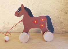 Wooden pull along toy Horse in brown 2 handmade hand-painted