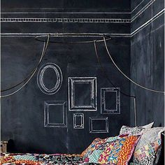 Check Out 27 Awesome Chalkboard Bedroom Ideas You'll Love. An accent wall in bedroom means new wall art regularly – just put some colorful chalk near the wall and voila! Chalkboard Bedroom, Chalkboard Paint, Chalkboard Frames, Blackboard Wall, Chalkboard Wallpaper, Fall Chalkboard, Chalkboard Drawings, Chalkboard Lettering, Diy Wallpaper