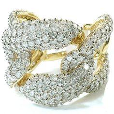 IGI CERTIFIED 3.42 Carat (ctw) 14k Yellow Gold Round Diamond Ladies Cocktail Link Ring