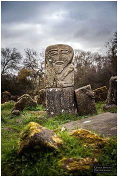 """Boa Island, County Fermanagh -- The Bilateral stone is called a """"Janus"""" figure and faces both ways. County Cork Ireland, Galway Ireland, Culture Art, Culture Travel, Ireland Vacation, Ireland Travel, Alexandre Le Grand, Celtic Culture, Ireland Landscape"""
