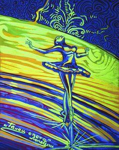 Dance of Light  Photo in black light  Tempera and fluorescent pigments on canvas. 2016. 25 х 20 cm