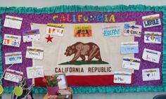 """Students make license plates for their """"road trip"""" around California before I start teaching geography at the beginning of the year. (Keep California flag up all year, switch out student work) 4th Grade Social Studies, Teaching Social Studies, Teaching Geography, Teaching Kids, Teacher Tattoos, Erin Condren Teacher Planner, California History, California License, California Flag"""