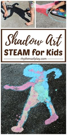 Sidewalk Chalk Art & Science - Here's a shadow art project for kids, and hands-on STEAM activity, that can help children learn about shadow science and how shadows form while painting sidewalk chalk art. Making DIY chalk paint and painting shadow art is a fun outdoor art project and science activity for kids from toddlers to teens! | Rhythms of Play Science Activities For Toddlers, Steam Activities, Summer Activities, Painting For Kids, Drawing For Kids, Art For Kids, Sidewalk Chalk Art, Painting Competition, Outdoor Art