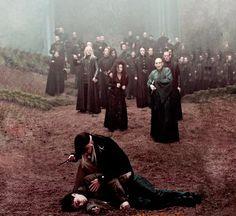 ♡ #harrypotter #deathlyhallows #dead #forest #deatheater #narcissamalfoy #voldemort #bellatrixlestrange #luciusmalfoy