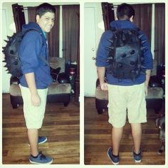 The coolest kid in school! Wearing his spikeasaurus black backpack. #shophmns #coolkid #backtoschool