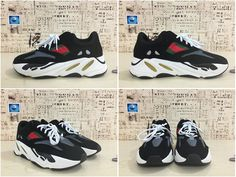 2017 New Style adidas Yeezy Wave Runner 700 Core Black Solar Red White