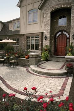 Beautiful stone and brick exterior, inviting front Entrance
