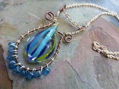 Original Design Blue and Green Art Glass by trendytrinketsbymely, $35.00