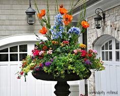 Brightly colored annual flowers spring and summer urn by Serendipity Refined