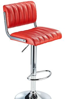 Harlsom Red Retro Bar Stool with Adjustable Height Soft Padded Seat Back Rest