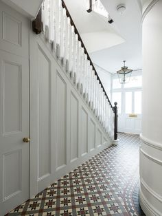 Wood Panel Hallway Hallway and Landing Design Ideas, Renovations & Photos Wood Panel Hallway Hallway and Landing Design Ideas, Renovations & Photos The post Wood Panel Hallway Hallway and Landing Design Ideas, Renovations & Photos appeared first on Home. Hall Tiles, Tiled Hallway, Entry Hallway, Tile Stairs, Bright Hallway, White Hallway, Upstairs Hallway, Wood Stairs, Entryway