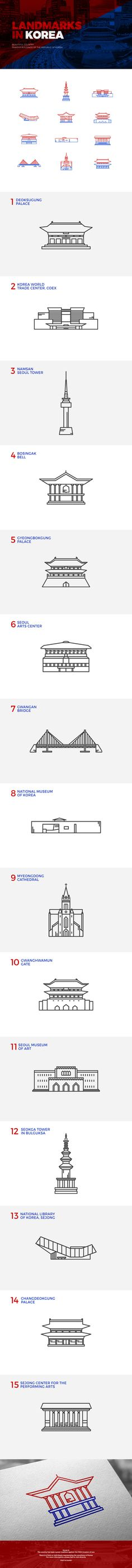 Landmarks in Korea – 일러스트레이션, 파인아트 – Architectural Style Web Design, Icon Design, Logo Design, Digital Illustration, Graphic Illustration, Korean Art, Kawaii Drawings, Line Icon, Grafik Design