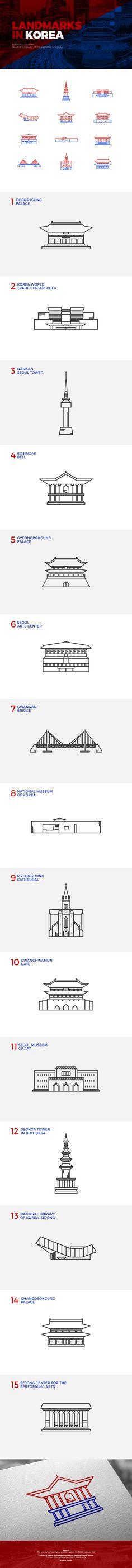 Landmarks in Korea - 일러스트레이션, 파인아트