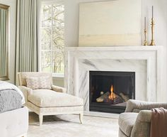 Denise McGaha Interiors has teamed up with Materials Marketing to design a beautiful fireplace collection. The McGaha Collection offers seven beautifully crafted fireplace designs, available in six natural stone variations. Marble Fireplace Surround, Marble Fireplaces, Fireplace Surrounds, Images Of Fireplaces, Home Fireplace, Fireplace Remodel, Fireplace Design, Modern Fireplace Mantles, Prefab Fireplace